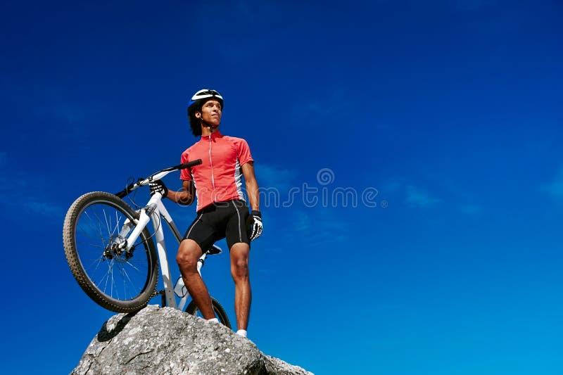 Mountain bike summit stock photography