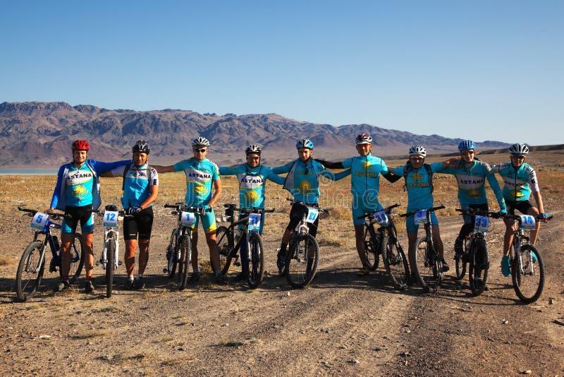 Mountain bike Team royalty free stock image