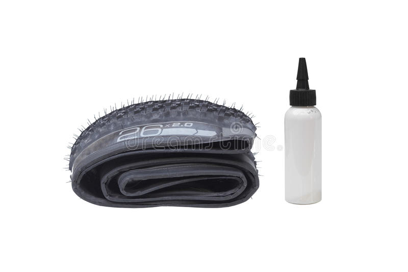 Mountain bike tire. Mountain bike external tubeless tire with sealant liquid stock images