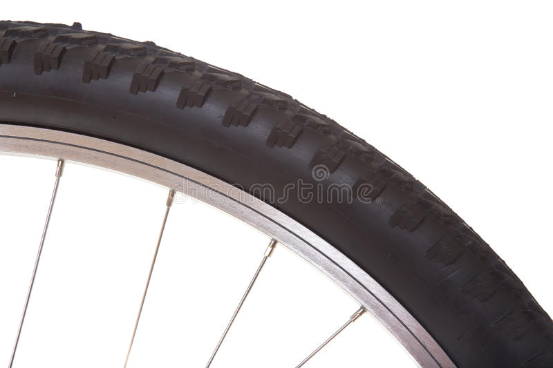 Mountain bike tire isolated. On white background royalty free stock image