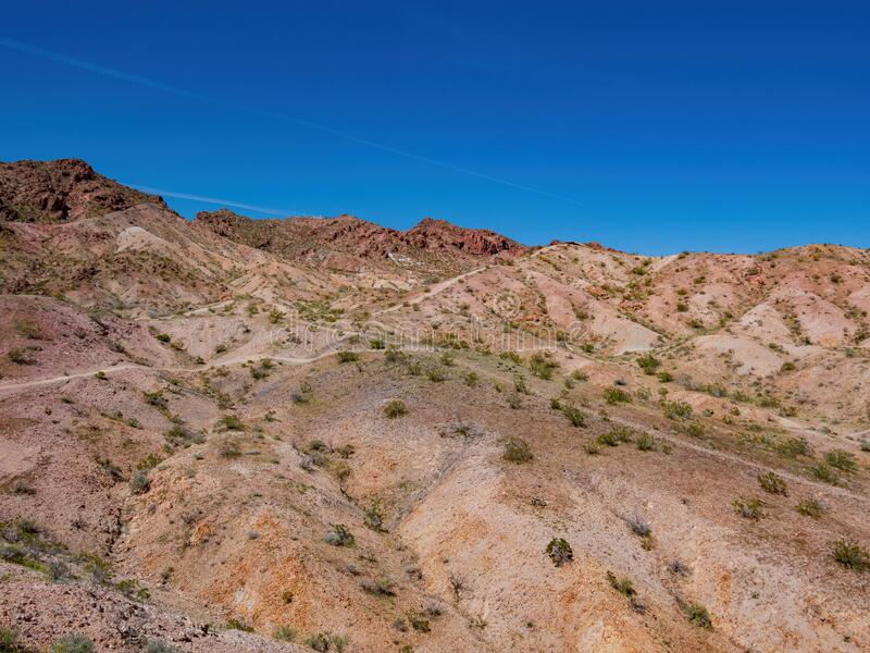 Mountain Bike Trails along the Bootleg Canyon. At Boulder City, Nevada royalty free stock images