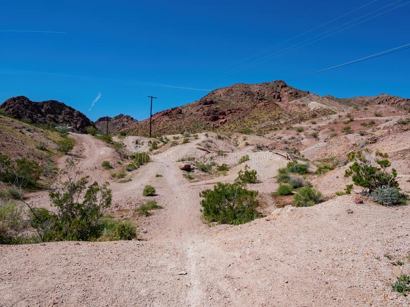 Mountain Bike Trails along the Bootleg Canyon. At Boulder City, Nevada stock images