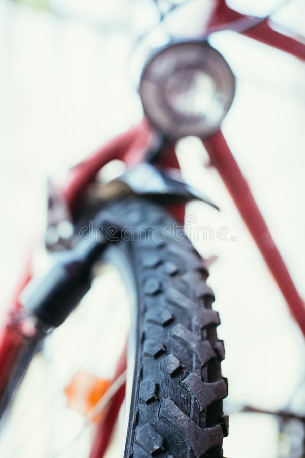 Mountain bike tyres outside, summer day, city mobility. Close up picture of a mountain bike tyre, summer day bicycle trip city mobility tour sports adventure stock photos