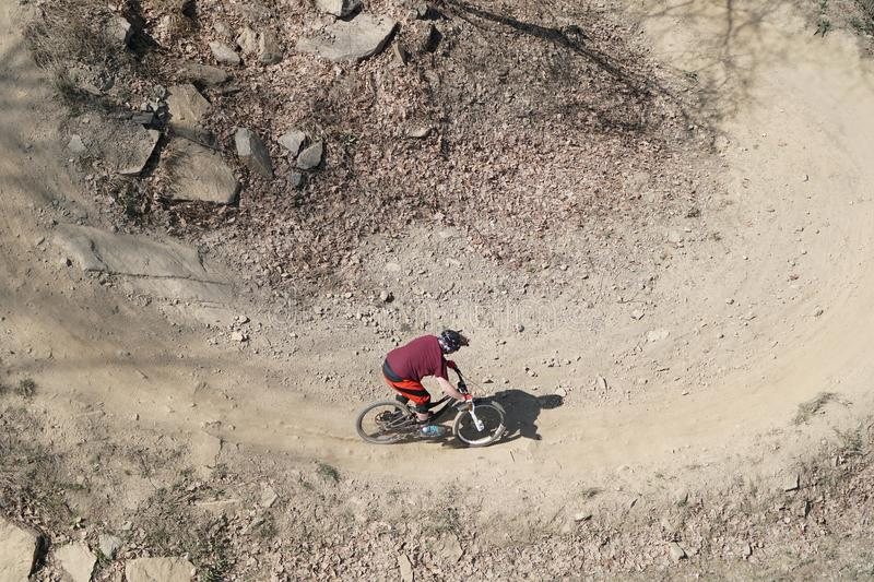 Mountain biker from above royalty free stock images