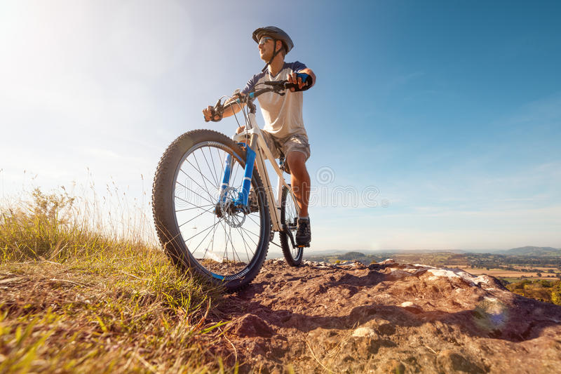 Mountain biker in action royalty free stock photography