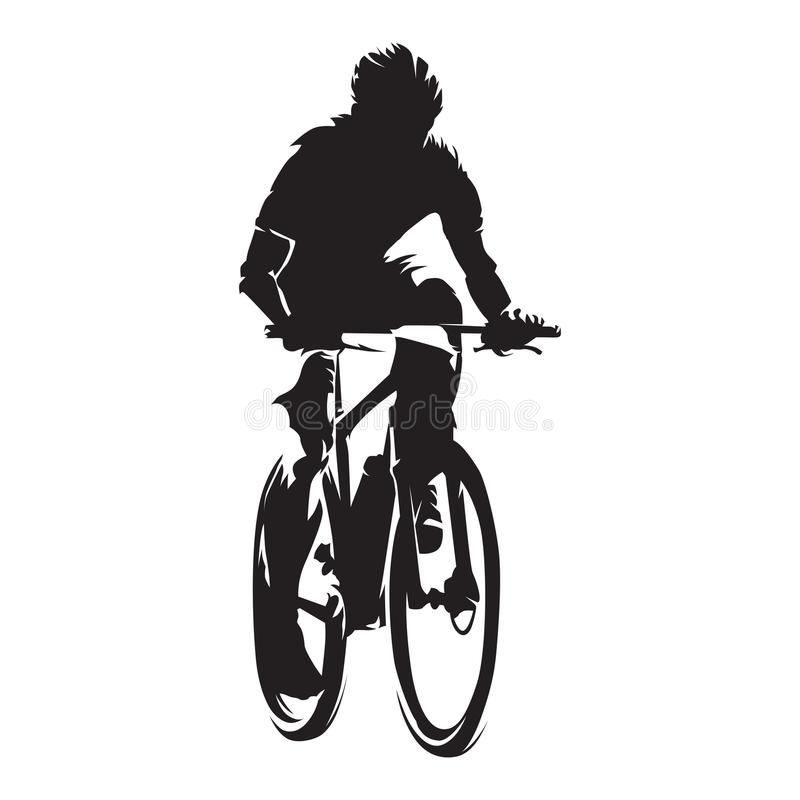 Mountain biker, cycling, isolated vector silhouette royalty free illustration