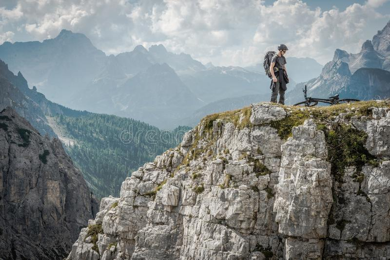 Mountain Biker in Dolomites stock images