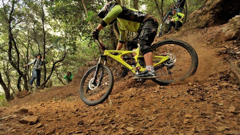 Mountain biker - Enduro race in Finale Ligure royalty free stock photos