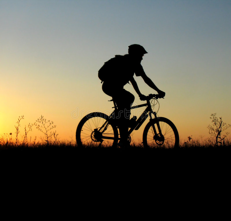 Download Mountain Biker Girl Silhouette Stock Photo - Image: 1745836