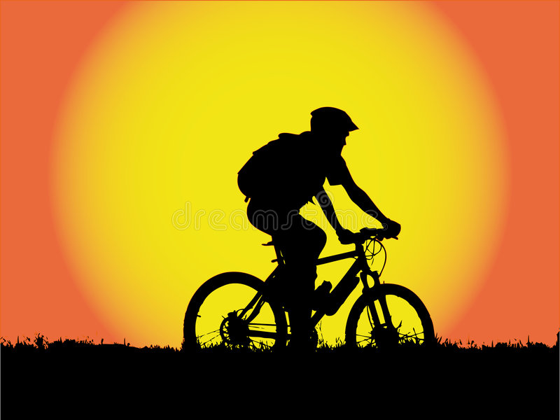 Mountain biker girl silhouette stock image