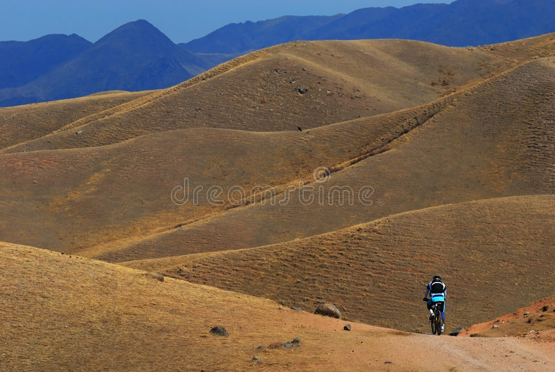 Mountain Biker On Road In Desert Mountain Royalty Free Stock Images
