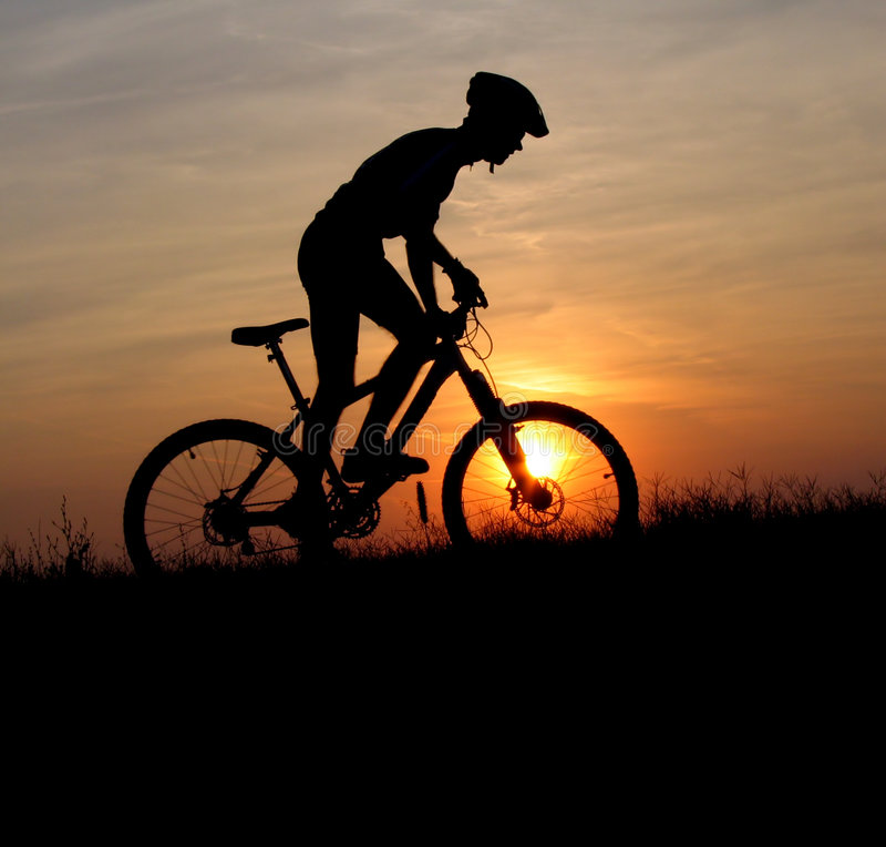 download mountain biker silhouette stock image image of mountain 1885321