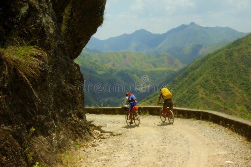 Mountain Bikers. Two Mountain Biker Adventurers in the Philippines stock image