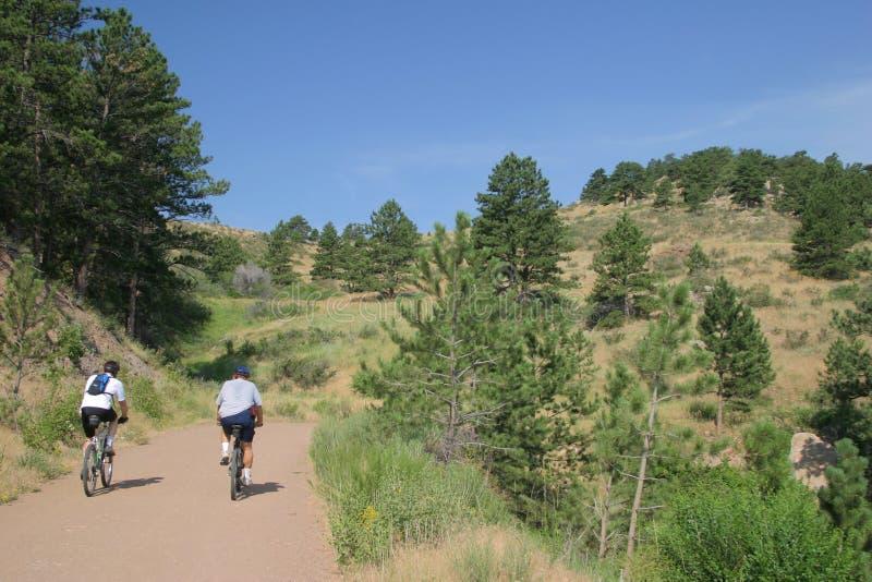 Mountain biking in Colorado stock photos