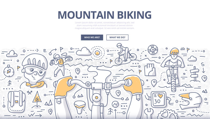Mountain Biking Doodle Concept royalty free illustration