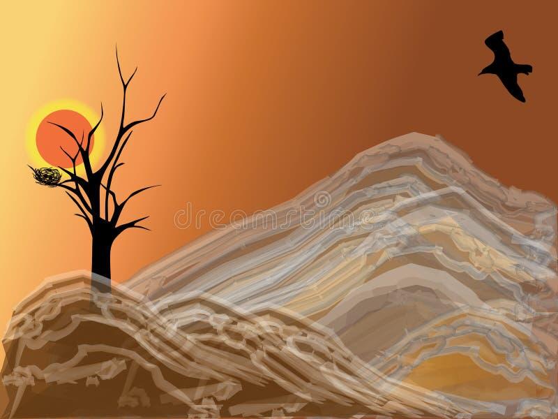 Mountain and bird vector illustration