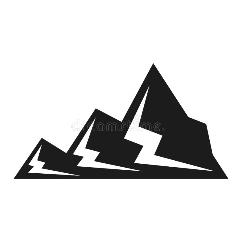 Mountain black icon, snow and landscape symbol vector illustration