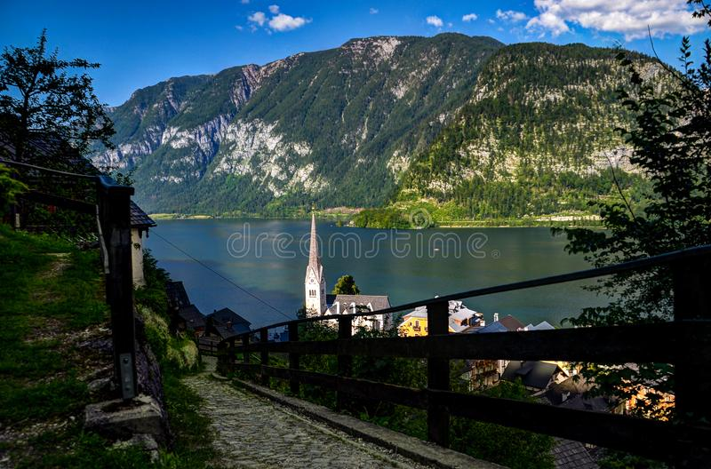 Mountain and Body of Water royalty free stock photography