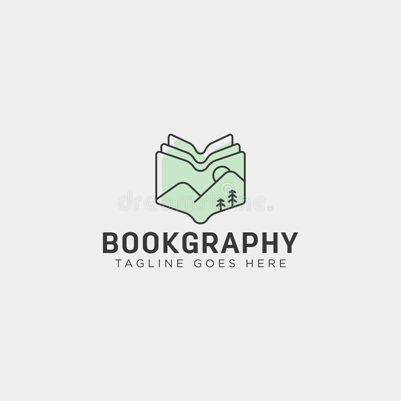 Mountain book geography education logo template vector illustration icon element. Isolated - vector royalty free stock images