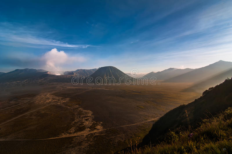 Mountain Bromo with Batok moutain. This picture was taken when I travel to Bromo Tengger Semeru National Park in East Java, Indonesia royalty free stock images