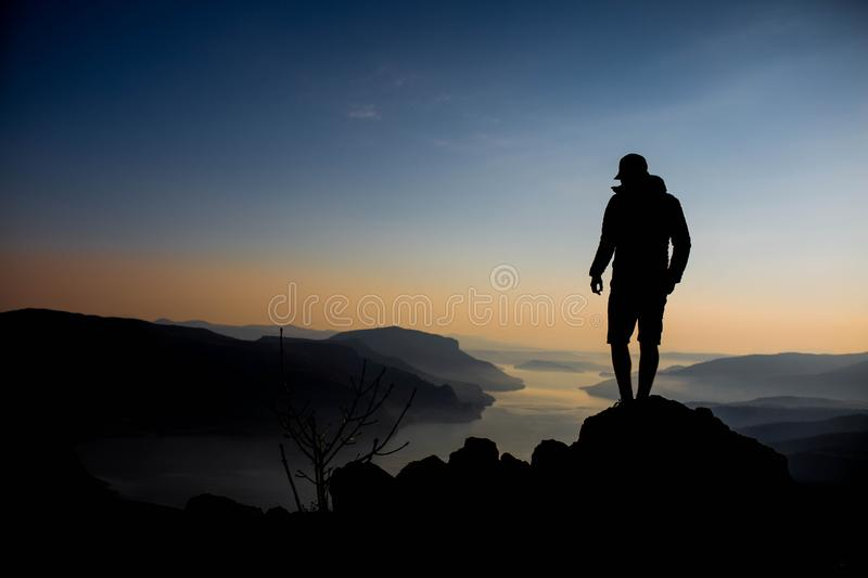 Mountain in Bulgaria silhouette, Rhodope Mountains. Mountain in Bulgaria silhouette. Rhodope Mountains Bulgaria/ sunrise in Rhodope Mountains stock photography