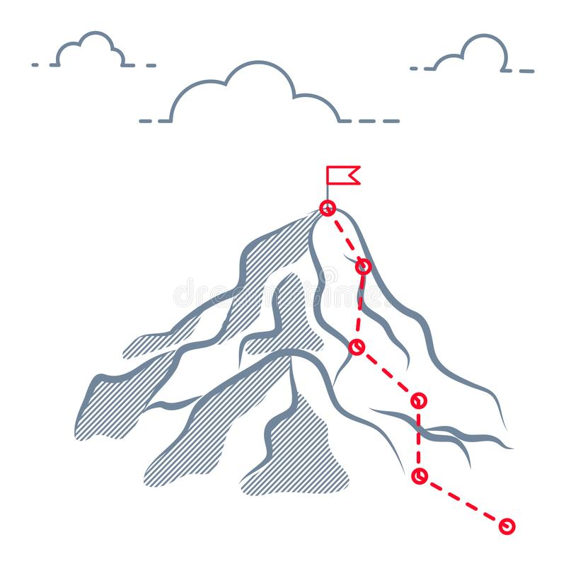 Mountain business journey climbing route to peak. Mountain success path route to peak with check points and flag on the top stock illustration