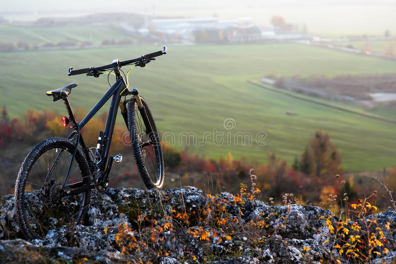 mountain-bycicle with beautiful landscape image stock photos