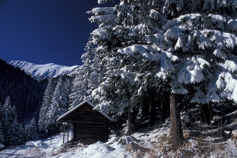 Mountain cabin. Retezat Mountains, Southern Carpathians, Romania stock image