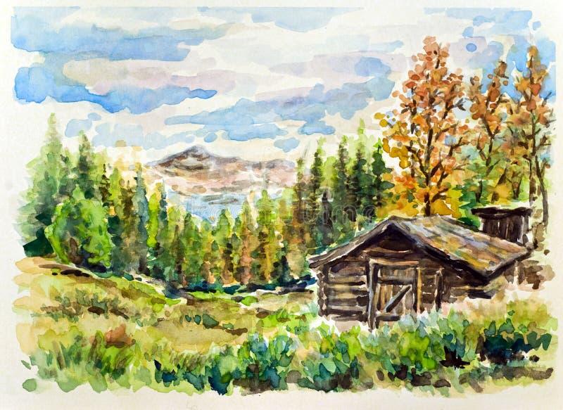 Mountain cabin vector illustration