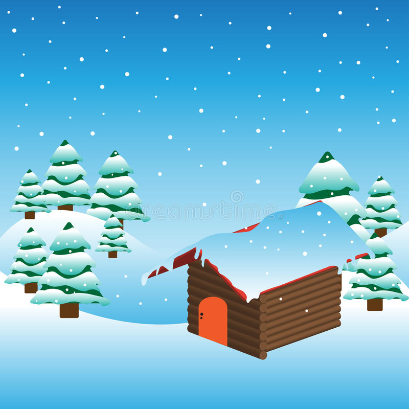 Download Mountain Cabin Covered By Snow Stock Vector - Image: 17526533