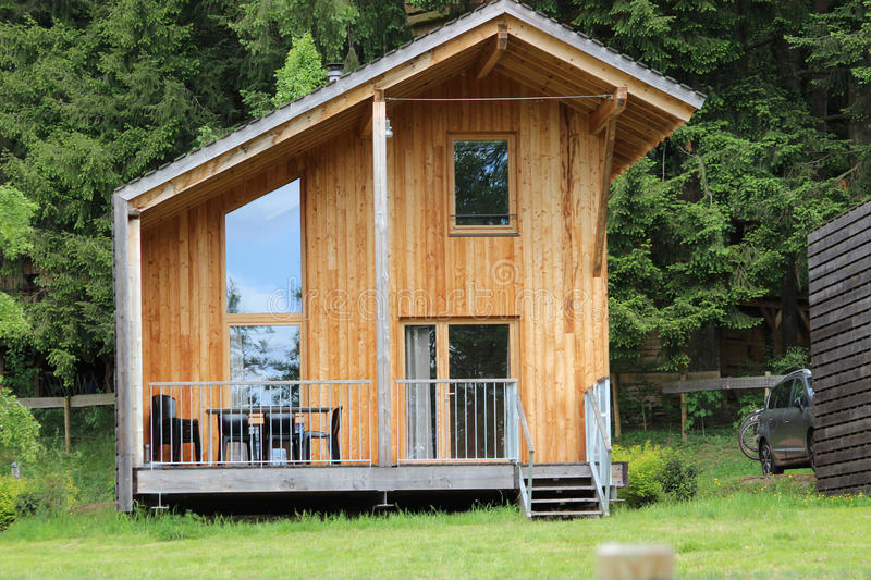 Mountain Cabin. A modern log cabin in the mountains, Lac des Sapins Cublize Haut-Beaujolais stock photography