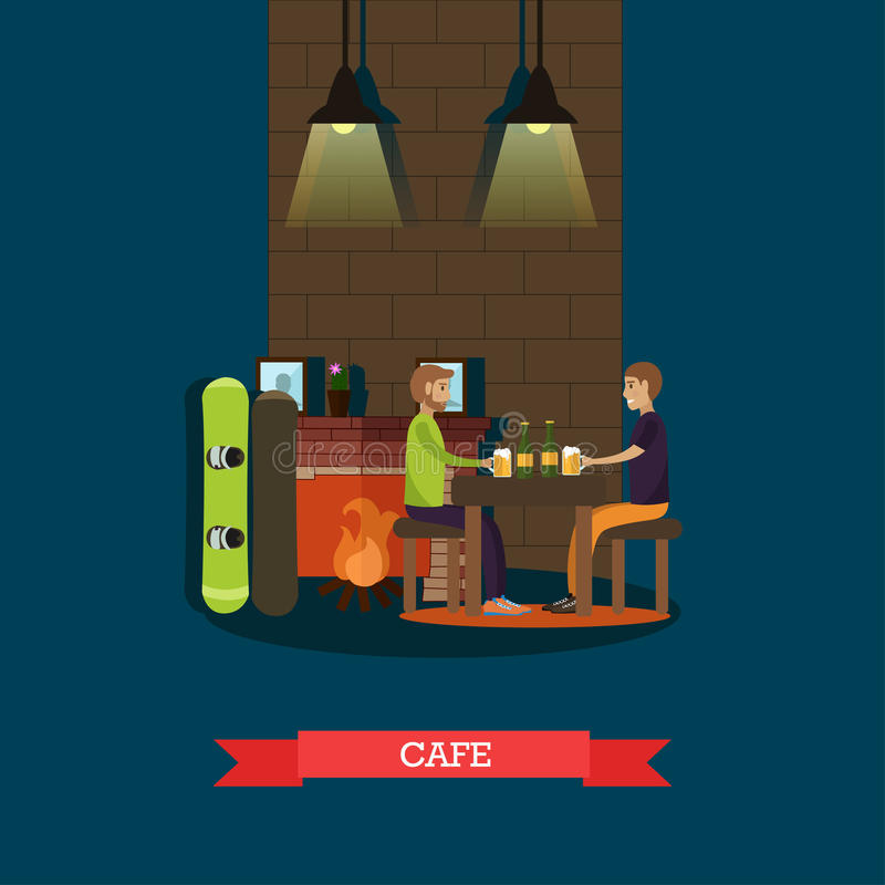 Mountain cafe vector illustration in flat style stock illustration