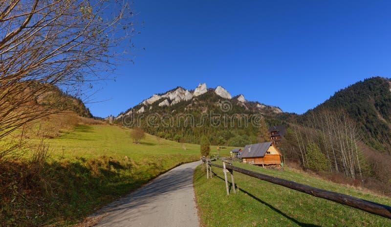 The mountain is called Trzy Korony in Poland in Pieniny stock photos