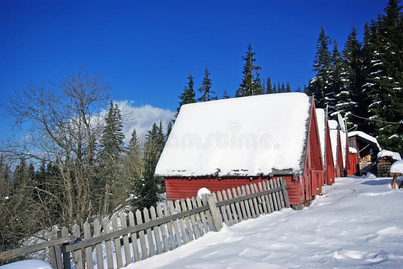 Mountain camping. With wooden houses, Romanian Carpathians stock image