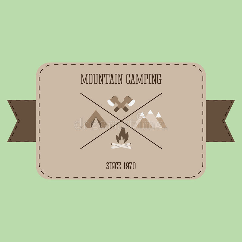 Mountain camping adventure badge graphic design logo emblem vector illustration