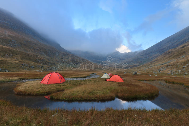 Mountain camping site stock images
