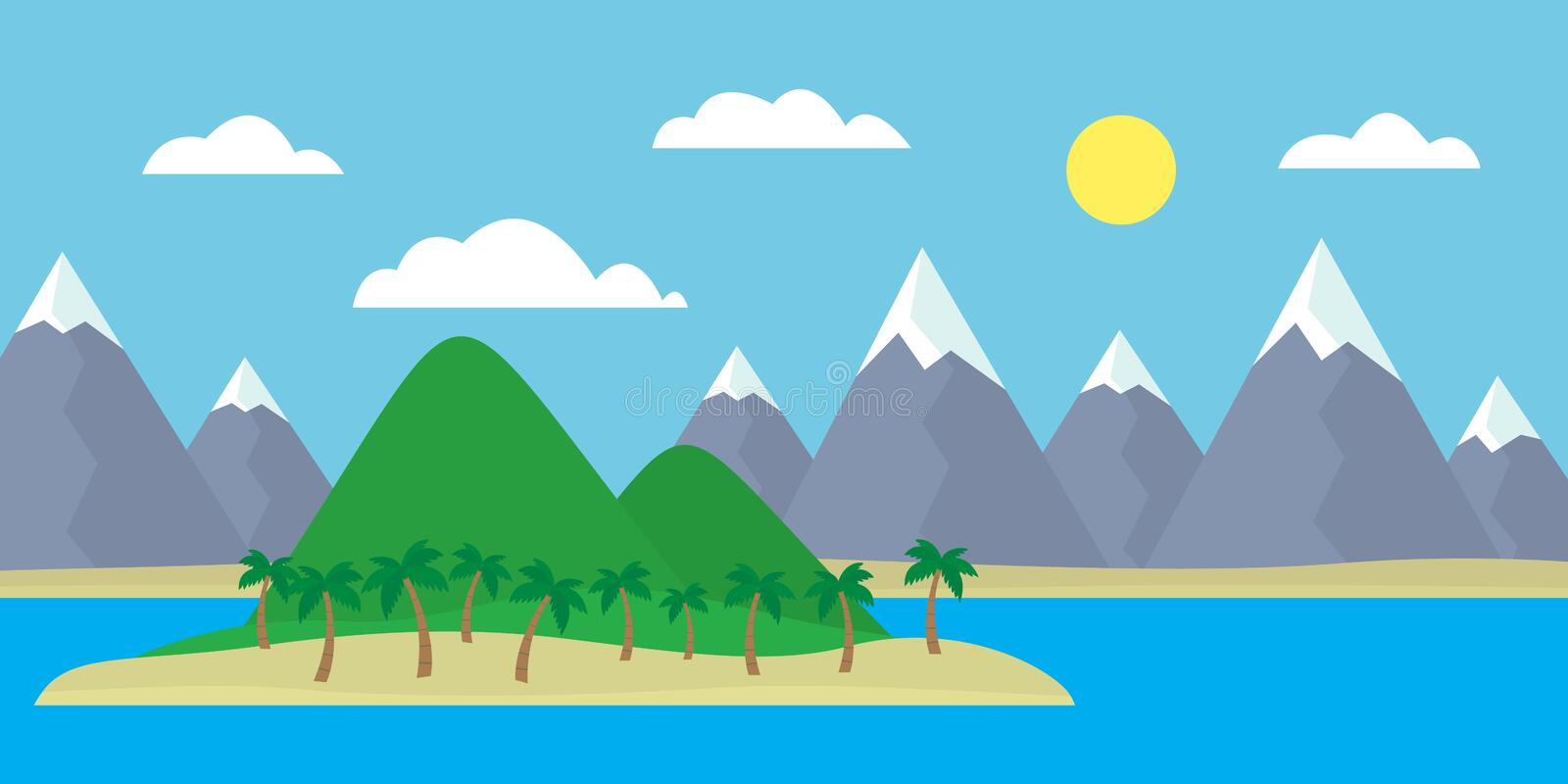 Mountain cartoon view of an island in the sea with green hills, stock illustration