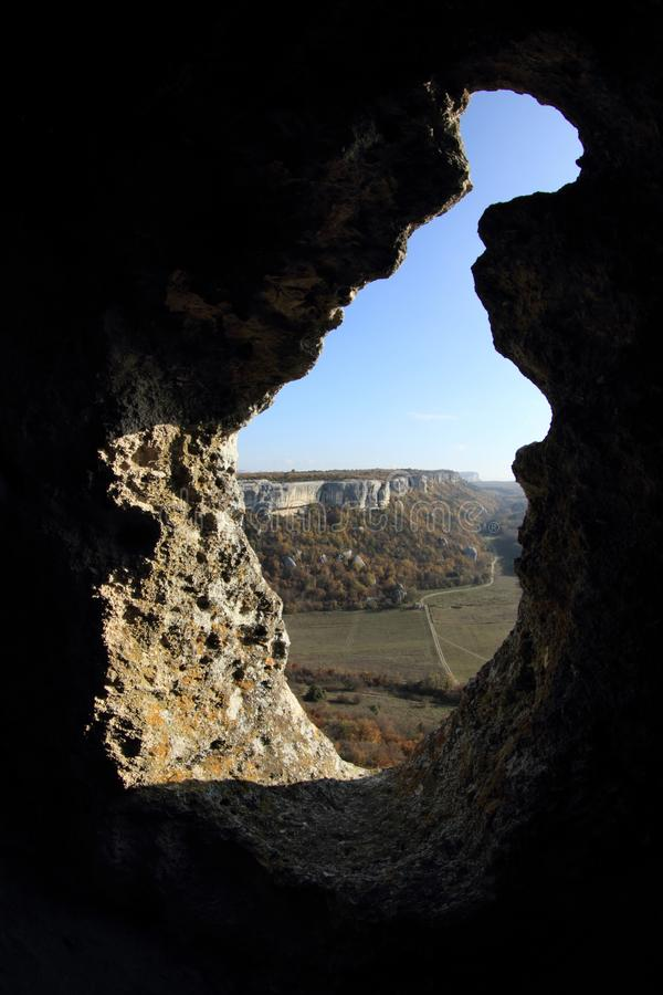 Mountain. Cave city Eski-Kermen VI-XIV centuries, Crimea, Russia royalty free stock photos