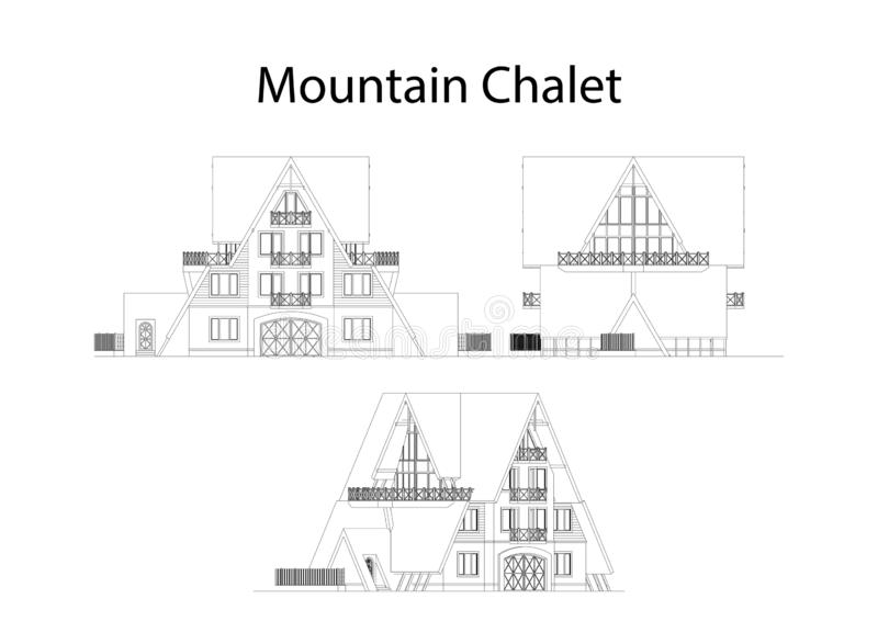 Mountain chalet facade and section, detailed architectural technical drawing, vector blueprint stock illustration