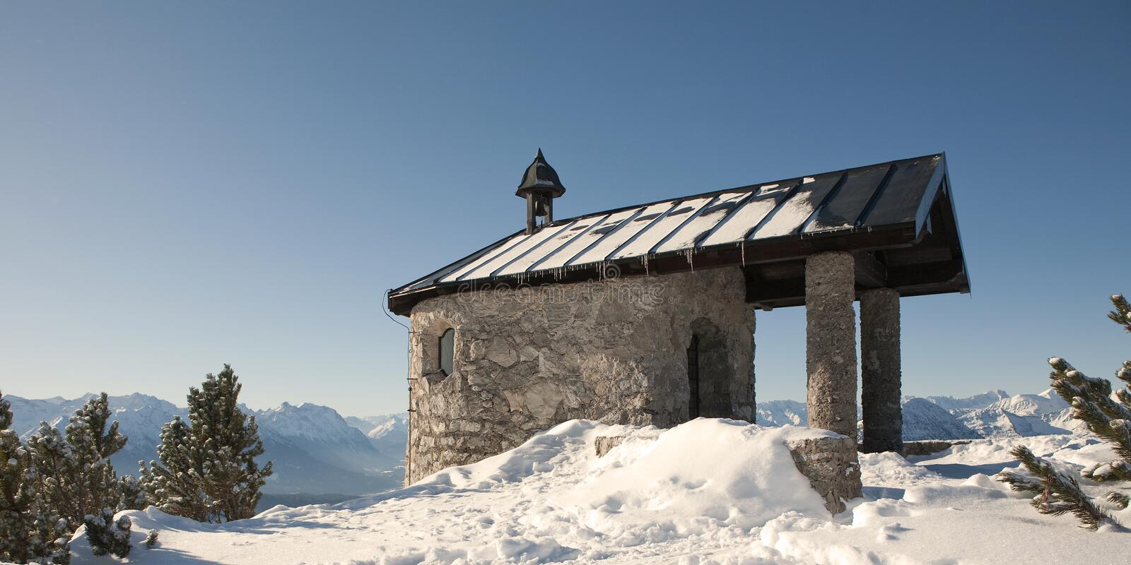 mountain chapel royalty free stock images