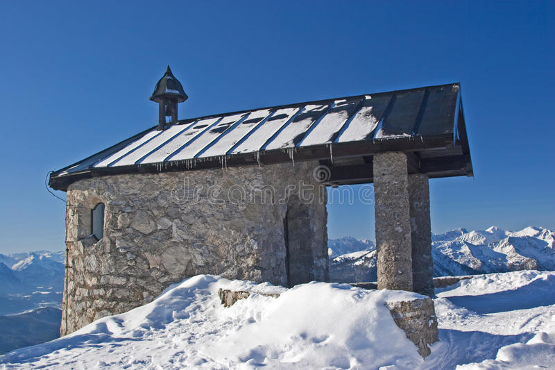 Mountain chapel stock photo