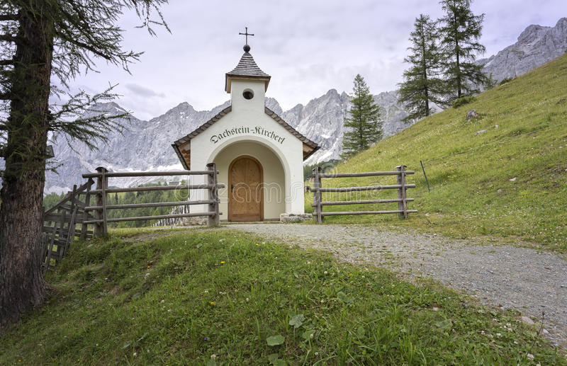 Mountain chapel in the Austrian mountains royalty free stock photo