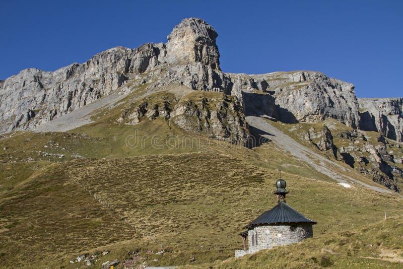 Mountain chapel on the pass Klausen stock photography