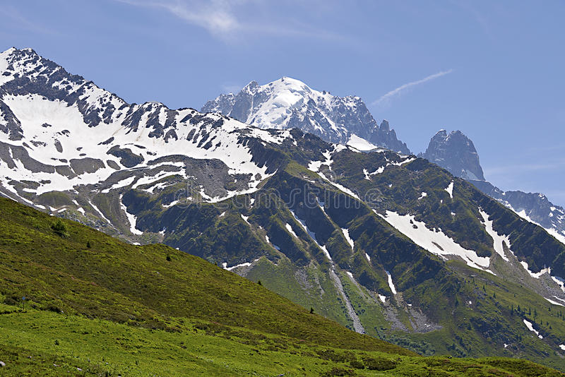 Mountain at Charamillon. Partly snowy mountain at Charamillon which depends on the commune Le Tour 1462m near of Chamonix in the French Alps in the Haute-Savoie royalty free stock photo