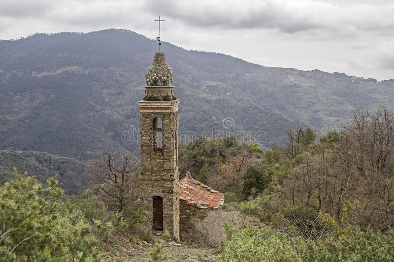 Mountain church in Apennines. Small mountain church in a lonely part of the Ligurian Apennines royalty free stock images