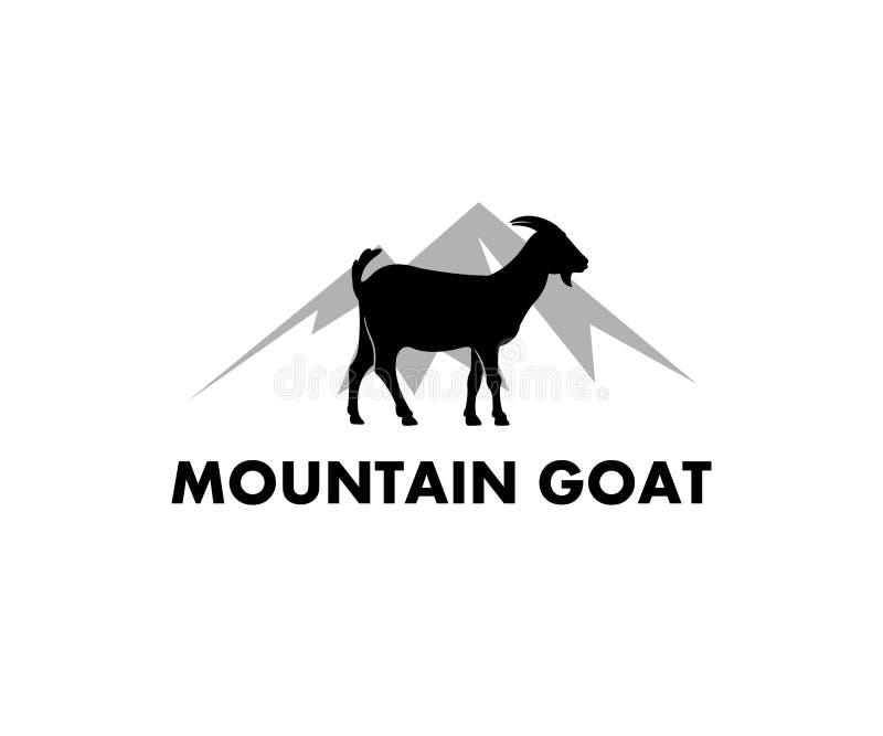mountain cliff goat farm field vector icon logo design simple flat style royalty free illustration