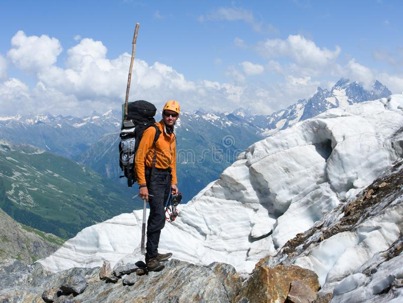Download Mountain-climber In High Caucasus Mountains Stock Photo - Image of helmet, majestic: 6575872