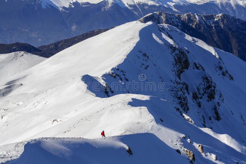 3 mountain climbers walk on snow in the Turkey. 3 mountain climbers walk on snow in the mountains royalty free stock photo