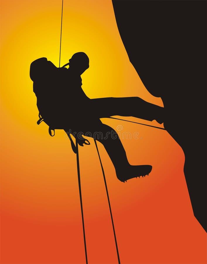 Mountain climbing canvasser royalty free illustration