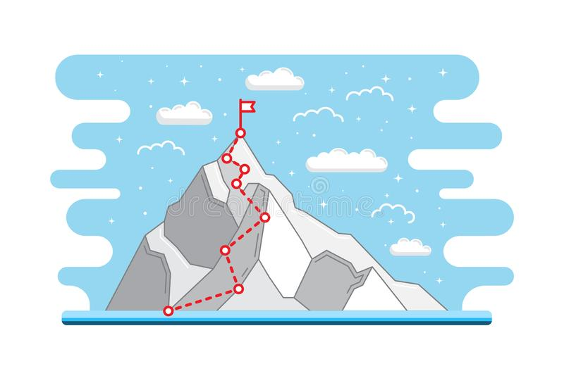 Mountain climbing route to peak. Business journey path in progress to success. Mountain climbing route to peak. Business concept achieve goals through the stages vector illustration
